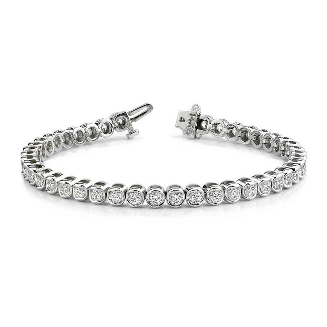 Item - White 5.00 Ct. Round Tennis Bezel Setting Bracelet