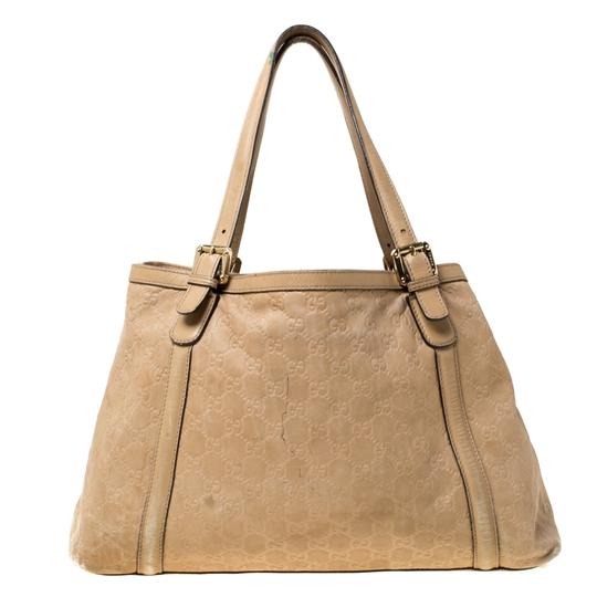 Gucci Leather Tote in Beige Image 1