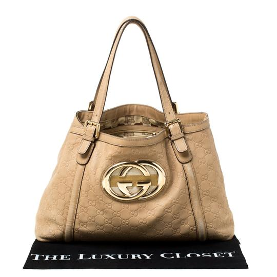 Gucci Leather Tote in Beige Image 11