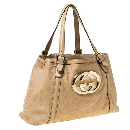 Gucci Leather Tote in Beige Image 3