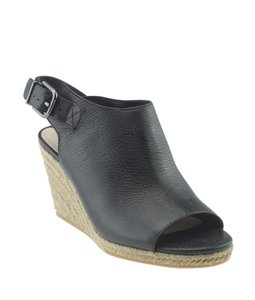 Via Spiga Leather Black Wedges