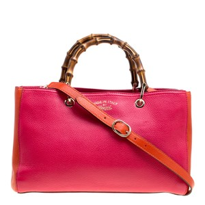 Gucci Leather Canvas Pink Clutch