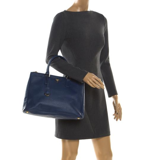 Prada Leather Tote in Blue Image 2