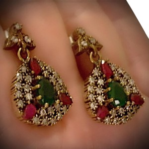Meditation Cluster Collection EMERALD PIGEON BLOOD RED RUBY DANGLE POST EARRINGS Solid 925 Sterling Silver/Gold WOW! Brilliantly Faceted Pear Cut Gemstones M6033 V