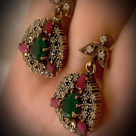 Meditation Cluster Collection EMERALD PIGEON BLOOD RED RUBY DANGLE POST EARRINGS Solid 925 Sterling Silver/Gold WOW! Brilliantly Faceted Pear Cut Gemstones M6033 V Image 3