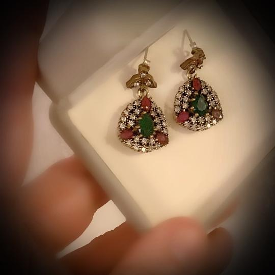 Meditation Cluster Collection EMERALD PIGEON BLOOD RED RUBY DANGLE POST EARRINGS Solid 925 Sterling Silver/Gold WOW! Brilliantly Faceted Pear Cut Gemstones M6033 V Image 5