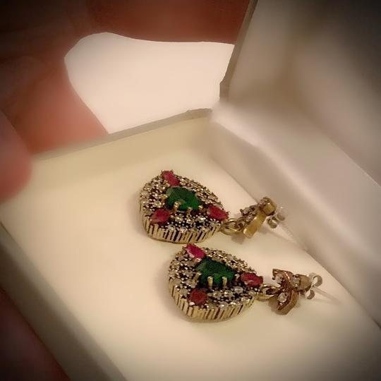 Meditation Cluster Collection EMERALD PIGEON BLOOD RED RUBY DANGLE POST EARRINGS Solid 925 Sterling Silver/Gold WOW! Brilliantly Faceted Pear Cut Gemstones M6033 V Image 8