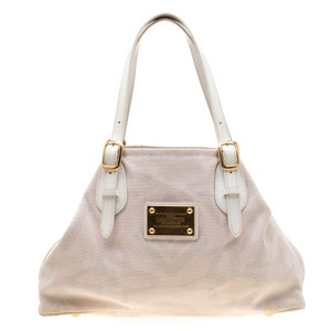 Louis Vuitton Canvas Leather Tote in Beige