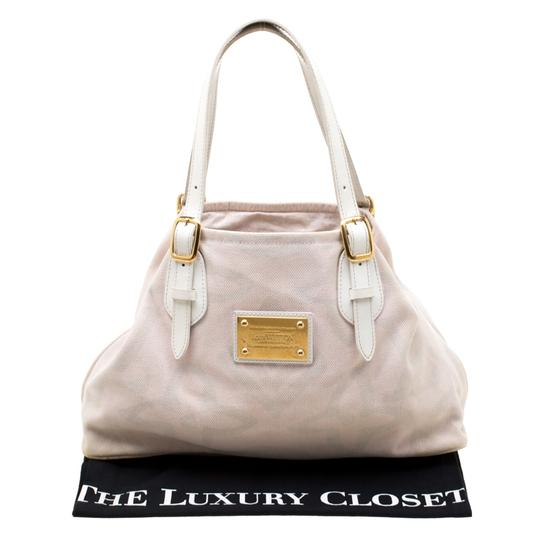 Louis Vuitton Canvas Leather Tote in Beige Image 11