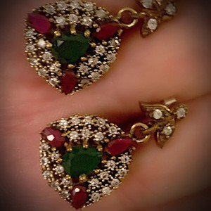 Red/Green Sale Emerald Pigeon Blood Ruby Dangle Post Solid 925 Sterling Silver/Gold Wow Brilliantly Faceted Pear Earrings
