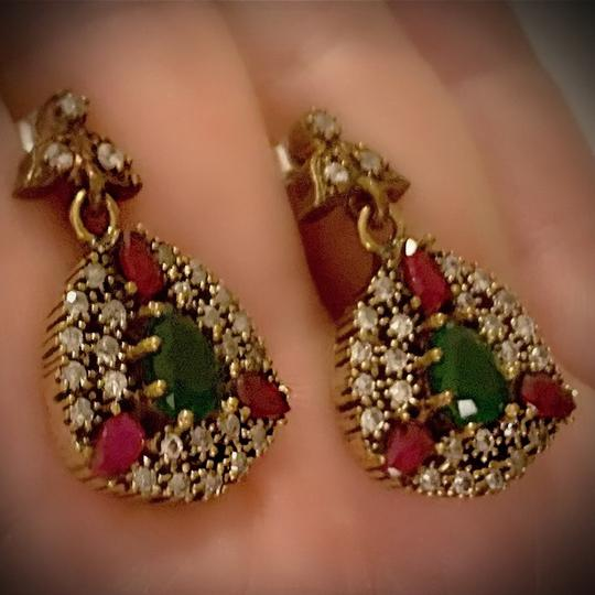 Red/Green Sale Emerald Pigeon Blood Ruby Dangle Post Solid 925 Sterling Silver/Gold Wow Brilliantly Faceted Pear Earrings Image 6