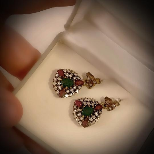 Red/Green Sale Emerald Pigeon Blood Ruby Dangle Post Solid 925 Sterling Silver/Gold Wow Brilliantly Faceted Pear Earrings Image 7