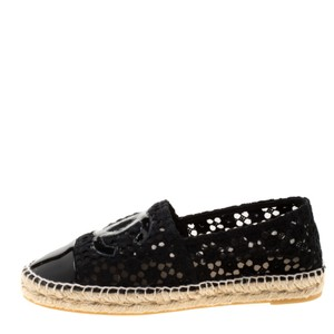 Chanel Lace Patent Leather Black Flats