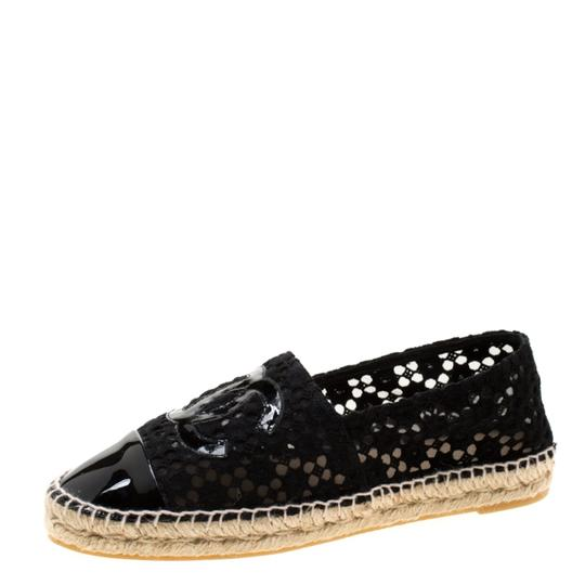 Chanel Lace Patent Leather Black Flats Image 1