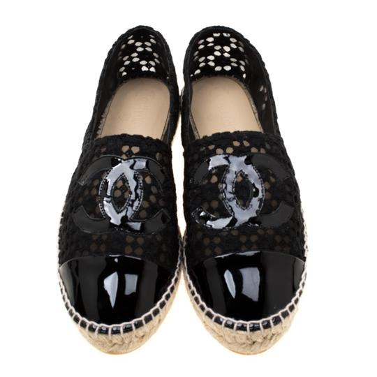 Chanel Lace Patent Leather Black Flats Image 2