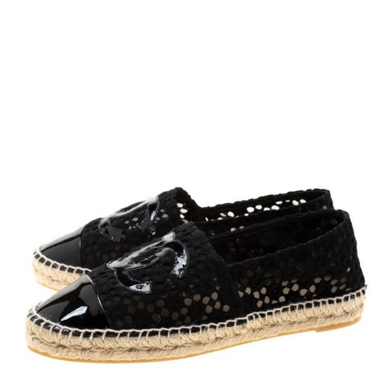 Chanel Lace Patent Leather Black Flats Image 3