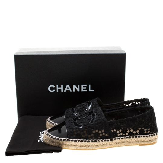 Chanel Lace Patent Leather Black Flats Image 7