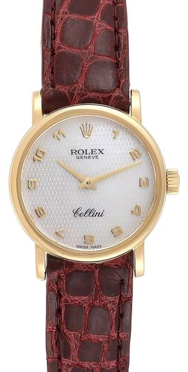Preload https://img-static.tradesy.com/item/26769120/rolex-textured-mother-of-pearl-cellini-classic-18k-yellow-gold-brown-strap-ladies-6110-watch-0-1-540-540.jpg