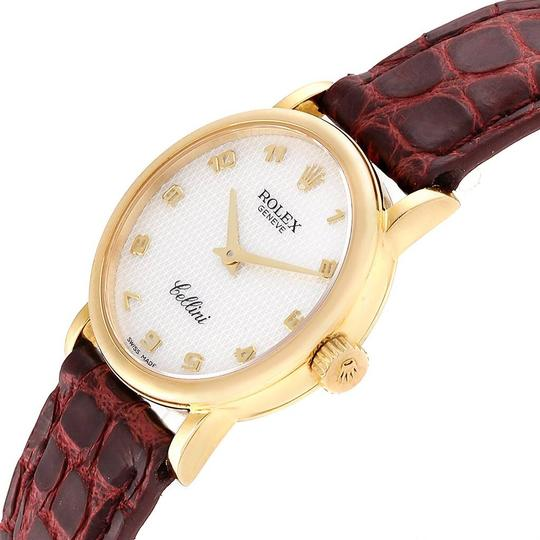 Rolex Rolex Cellini Classic 18k Yellow Gold Brown Strap Ladies Watch 6110 Image 4