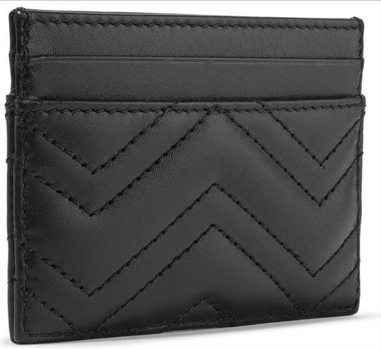 Gucci NEW GUCCI BLACK QUILTED MARMONT CARD CASE WALLET Image 1