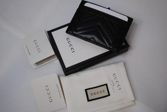 Gucci NEW GUCCI BLACK QUILTED MARMONT CARD CASE WALLET Image 10