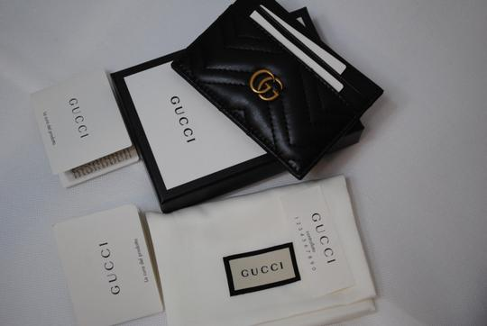 Gucci NEW GUCCI BLACK QUILTED MARMONT CARD CASE WALLET Image 11