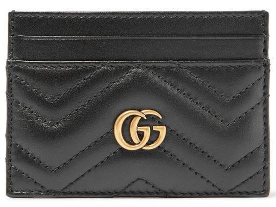 Gucci NEW GUCCI BLACK QUILTED MARMONT CARD CASE WALLET Image 2