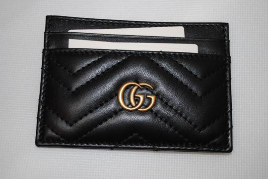 Gucci NEW GUCCI BLACK QUILTED MARMONT CARD CASE WALLET Image 5