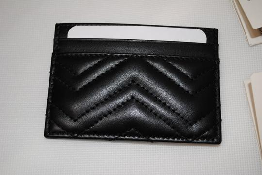 Gucci NEW GUCCI BLACK QUILTED MARMONT CARD CASE WALLET Image 6