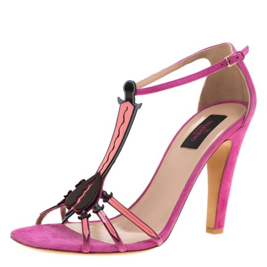 Valentino Suede Leather Pink Sandals Image 1
