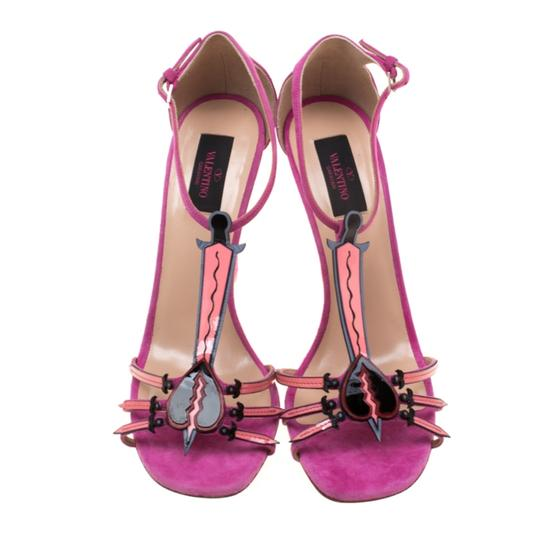 Valentino Suede Leather Pink Sandals Image 2