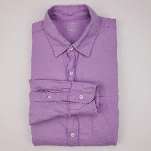 J.Crew Purple Slim Fit Medium Irish Linen Baird Mcnutt Light Lav Shirt