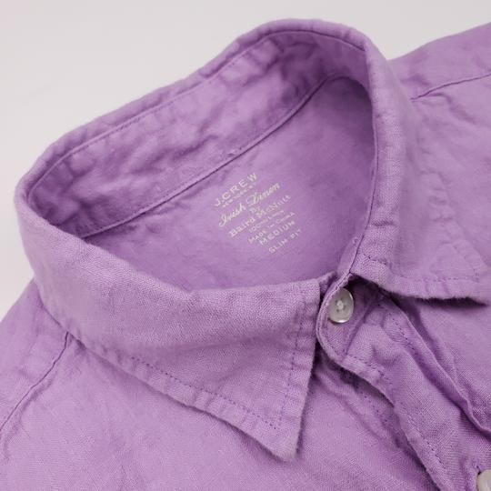 J.Crew Purple Slim Fit Medium Irish Linen Baird Mcnutt Light Lav Shirt Image 4