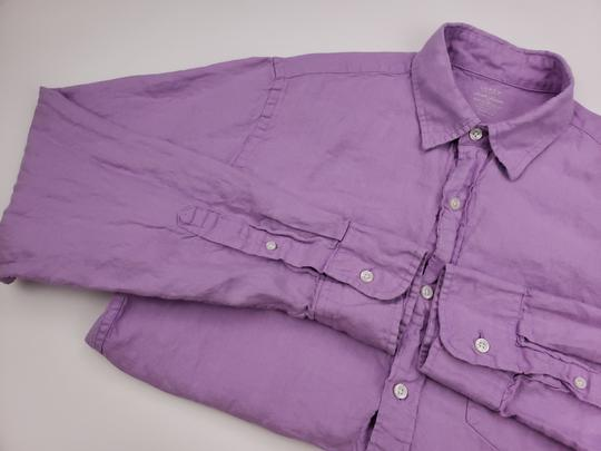 J.Crew Purple Slim Fit Medium Irish Linen Baird Mcnutt Light Lav Shirt Image 6