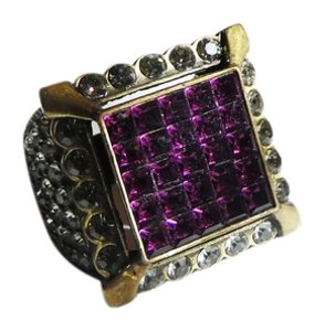 Heidi Daus Authentic Signed Heidi Daus Amethyst Swarovski Crystal Ring Size 8