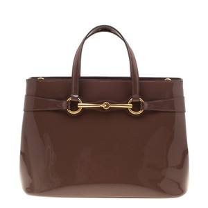 Gucci Patent Leather Fabric Tote in Brown