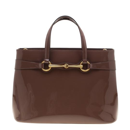 Gucci Patent Leather Fabric Tote in Brown Image 0