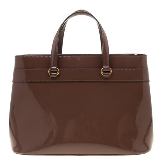 Gucci Patent Leather Fabric Tote in Brown Image 1