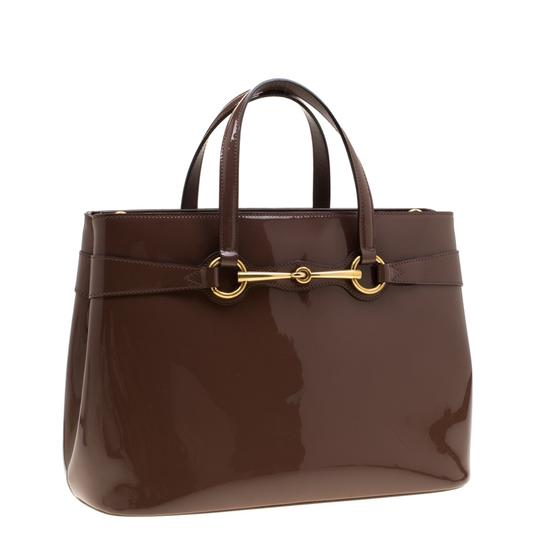 Gucci Patent Leather Fabric Tote in Brown Image 3
