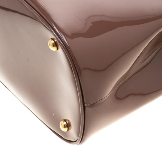 Gucci Patent Leather Fabric Tote in Brown Image 7