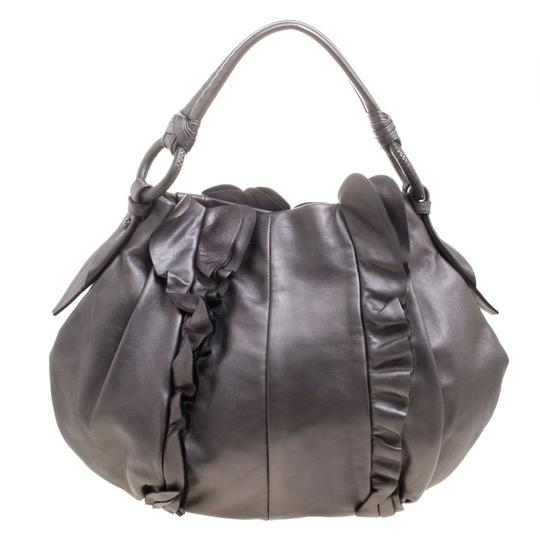 Preload https://img-static.tradesy.com/item/26769373/prada-metallic-ruffle-grey-leather-hobo-bag-0-0-540-540.jpg