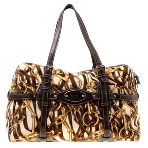 Gucci Print Velvet Satchel in Brown
