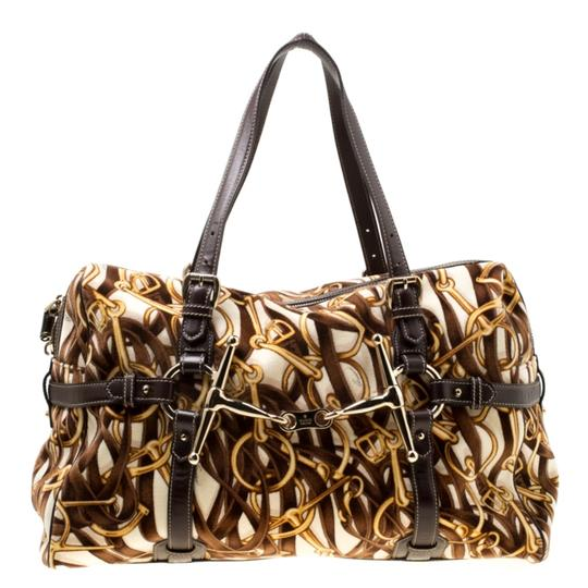 Gucci Print Velvet Satchel in Brown Image 1
