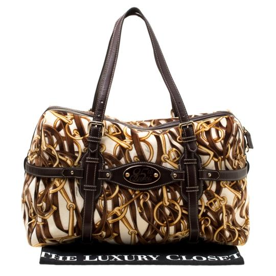 Gucci Print Velvet Satchel in Brown Image 11