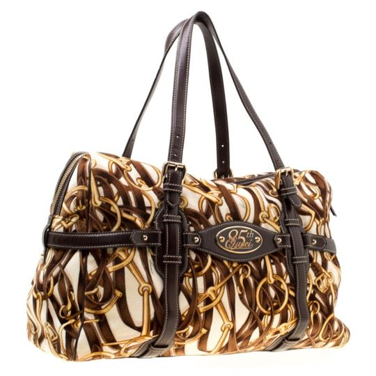 Gucci Print Velvet Satchel in Brown Image 3