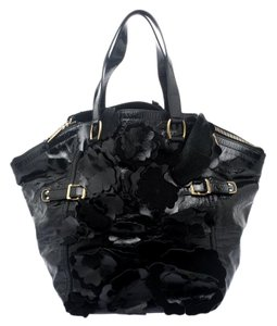 Saint Laurent Floral Leather Tote in Black