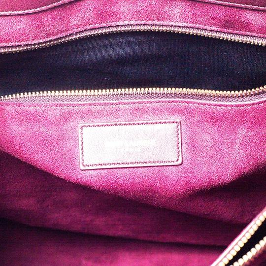 Saint Laurent Leather Tote in Burgundy Image 10