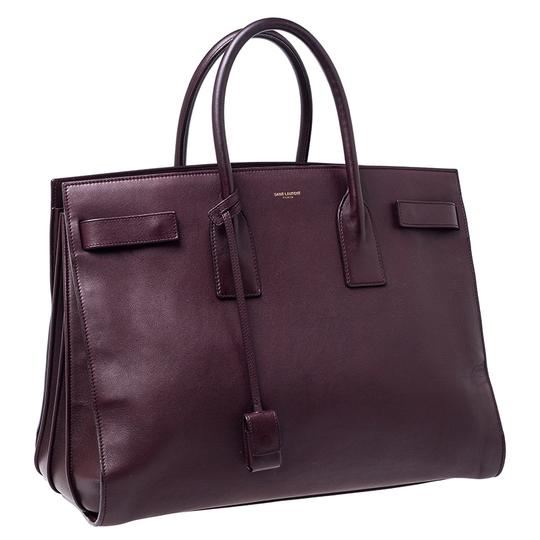 Saint Laurent Leather Tote in Burgundy Image 2