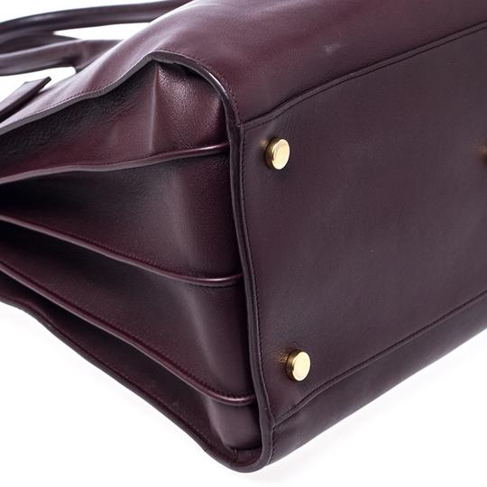 Saint Laurent Leather Tote in Burgundy Image 5