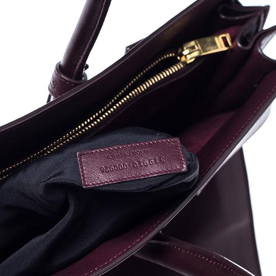 Saint Laurent Leather Tote in Burgundy Image 7